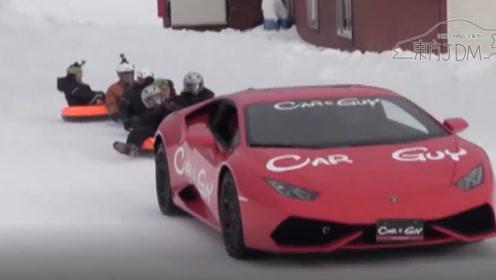 冰雪漂移新玩法 后驱的法拉利 四驱的兰博基尼和D1职业漂移车动态对比