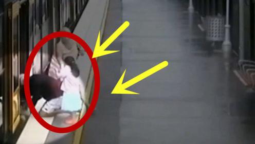 六旬老人带娃赶地铁,孙子突然跌落铁轨,监控拍下揪心一幕