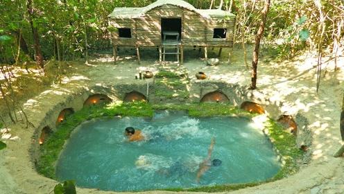 趣味原始生活:修建圆形游泳池