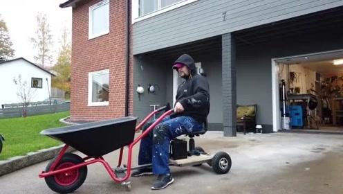 见识一下老外把手动的推斗车改为电动车、太有创意了