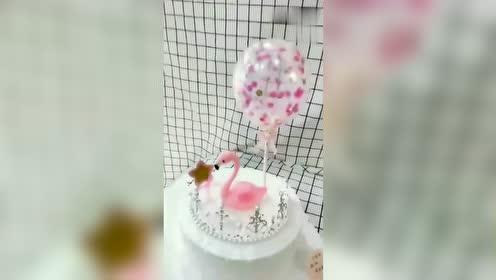 精美火烈鸟气球网红蛋糕