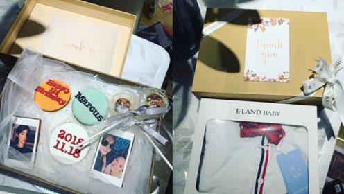 张柏芝三儿子周岁生日在即 礼盒曝光内有纪念章和照片