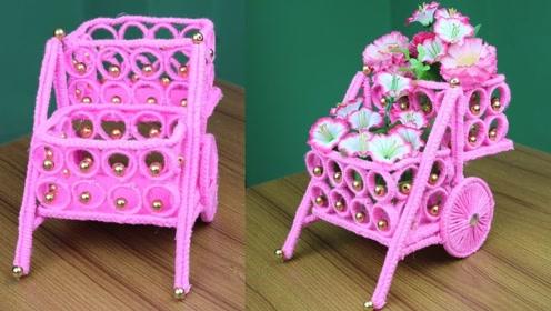趣味手工制作:做粉色羊毛小推车