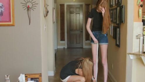 """16岁少女逆天""""大长腿"""",腿长1.35米,比吉尼斯纪录还长!"""