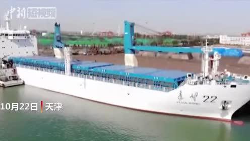 远望号火箭运输船编队从天津港出发