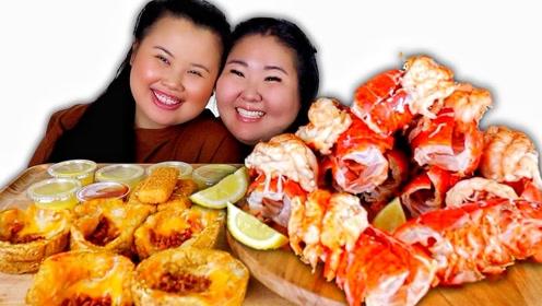 动手吃美食:妹子吃了十个超大龙虾
