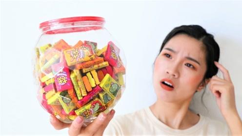 妹子网购了一罐泡泡糖,一口气连吃十几个,能吹出超大的泡泡吗?