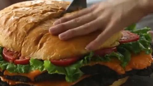 """老外制作的""""超大汉堡"""",一出锅惊呆众人!网友:这够10人吃了吧"""