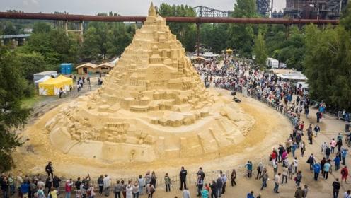"""全球最高的""""沙雕建筑"""",总高度约15米,像是一座小山峰!"""
