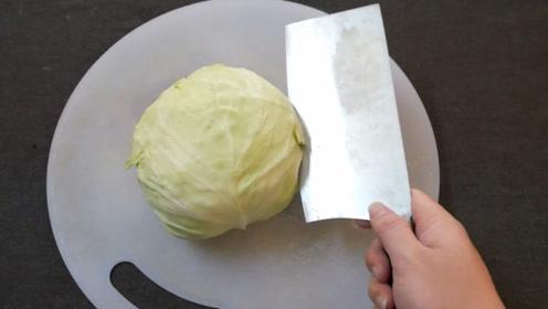 手撕包菜太费劲,教你一招,这效率,不怕没得吃了