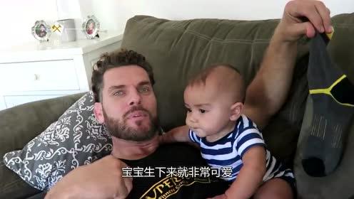 宝爸将臭脚伸到萌娃面前,下一秒宝宝的反应,宝妈笑翻了