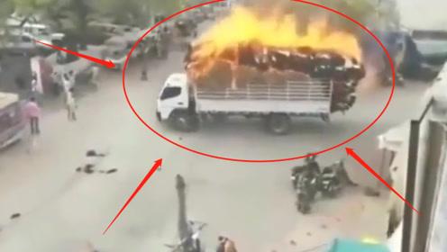 英雄!司机不顾自身安危,将着火的大货车驶离闹市,监控记录感人一幕!