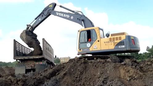 整个团队的力量,年轻的VOLVO EC210B真的很快,挖掘机和卡车