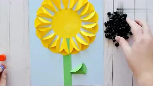 幼儿卡片制作手工向日葵,看完视频,你学会了吗