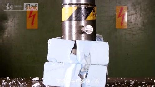 液压机压泡沫板是种什么体验,感觉强迫症的人看着好舒服啊!