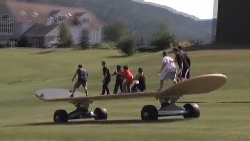 全球最大的滑板,20位老外作死体验,结果停不下来了