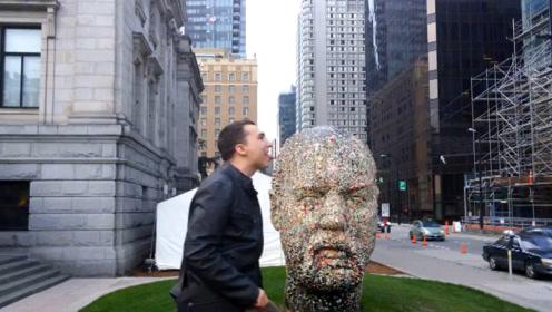 加拿大雕塑沾满口香糖,背后故事让人深思