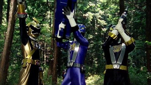 《炎神战队》三位战士合力战斗,打败害恶怪兽