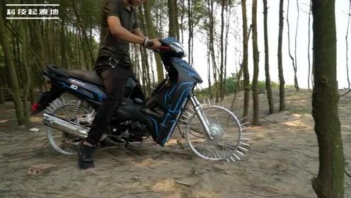 将摩托车轮的橡胶换成钉子,能达到越野轮胎的效果么?测试一下!