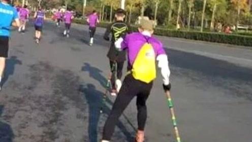 穿滑轮参加马拉松被取消成绩