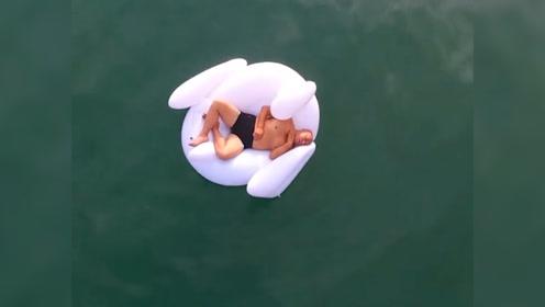 一男子熟睡意外飘出大海数公里 无人机拍下整个过程!