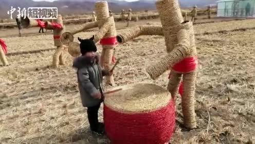 栩栩如生!吉林小伙创作稻草创意作品