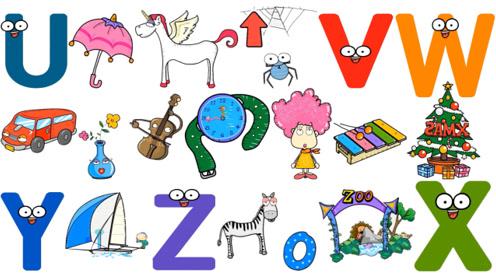 快乐英语26个英语字母与英语单词学习儿童英语UVWXYZ