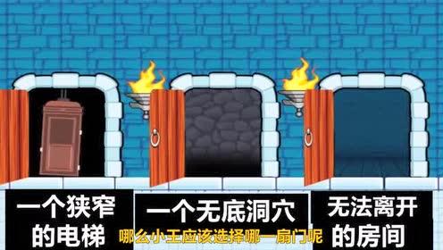 脑力测试:小王面前的三扇门!他应该选择哪扇门离开?!