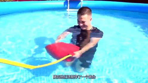 利用水中气球玩蹦床,真是脑洞清奇,老外就是会玩