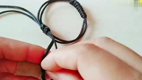 金刚结收尾扣:金刚结手链编织过程,这个手链全部是绳结组成