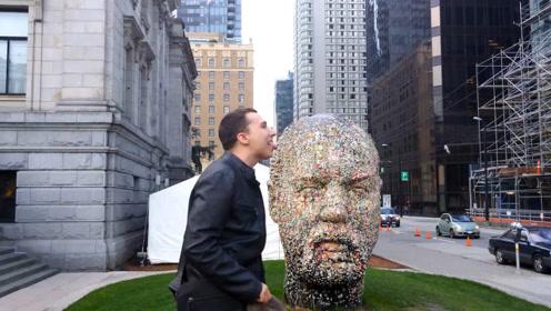 """世界上最""""奇葩""""雕塑,头部粘满口香糖,看似恶心却意义深远!"""