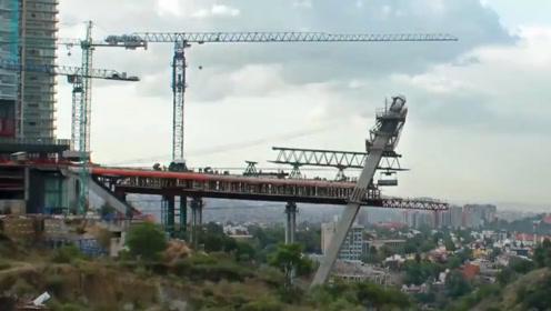 延时拍摄,4分多钟看完修建一座大桥,这就是现代速度