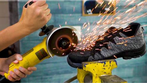 能将钉子压弯的黑科技鞋子,遇到切割机会怎样?穿去工地肯定好使