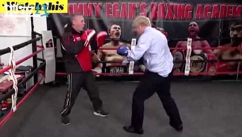 """鲍里斯打拳击为辩论""""热身"""" 打起拳来有模有样力量十足"""
