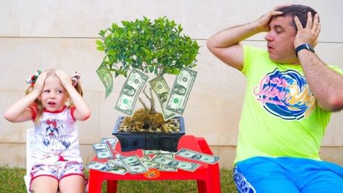 花盆里长出了发财树?小萝莉种下硬币长出钱来,老爸却被指责贪心