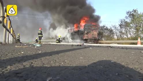 装9吨快递货车起火:大部分是双11的,由义乌开往济南
