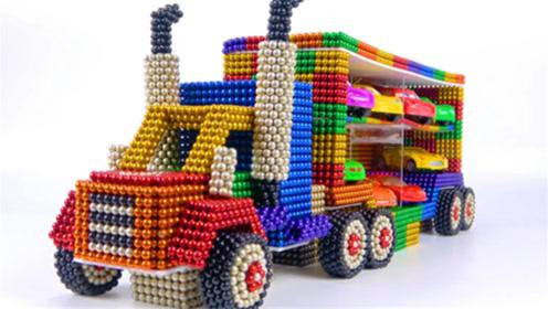 如何用彩色巴克球建造装载大客车?手工巴克球教程,动手动脑超漂亮呢