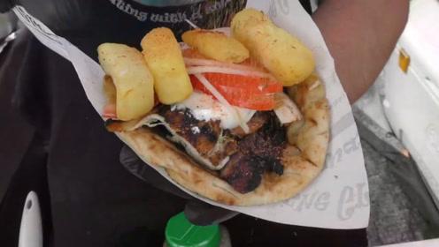 """希腊街头""""土豪""""手抓饼,馅料多达几十种食材"""