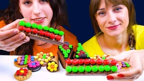 五彩缤纷的巧克力豆,和零食碰撞在一起,带来视觉享受
