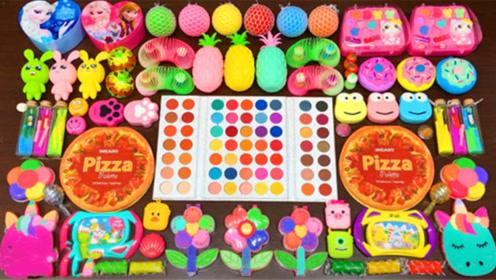 创意史莱姆教程,菠萝果冻泥+小花彩虹+披萨彩泥+爱心盒彩泥,手感超棒
