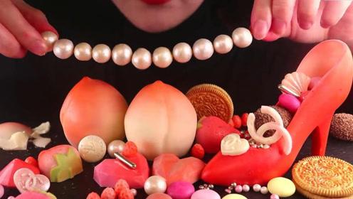 小姐姐自制红色系巧克力甜点,各种造型琳琅满目,瞬间俘获少女心