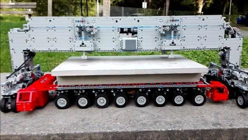 乐高机械模拟中国高铁建造过程,这操作看得我一愣一愣的