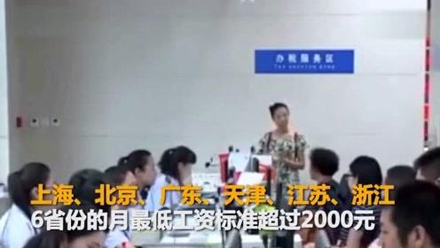 多地上调最低工资标准 北上广津苏浙6省份超2000元