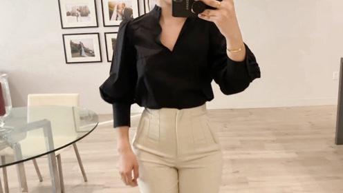 这款黑色灯笼袖衬衫不错,时尚又有型