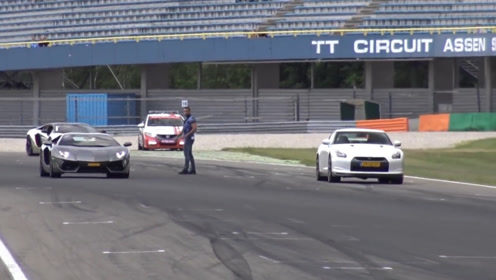兰博基尼单挑GTR,起步败步步败,兰博基尼只配看GTR的尾灯
