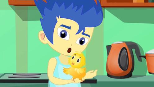 男孩想吃煎鸡蛋,鸡蛋里却孵化出一只小鸡,他们成了好朋友!