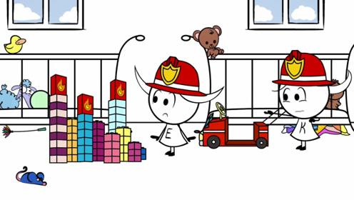 姐妹两扮成消防员,救了被困的猫咪,浇灭了大火,玩的很开心!