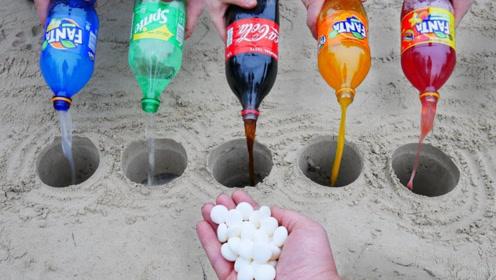 原来不同的碳酸饮料,遇到薄荷糖竟能产生这样的反应!开眼界了