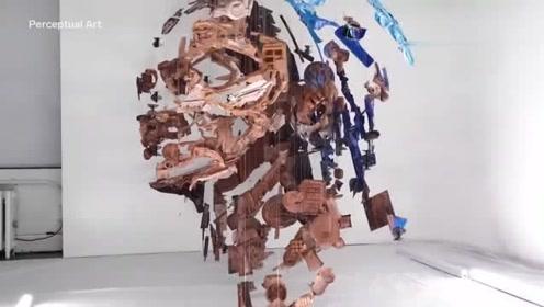 看着像一堆破零件,换个角度看,才发现这是一个了不起的艺术品