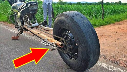摩托车装上卡车轮胎会如何?一加油门来回跳舞!众人不淡定